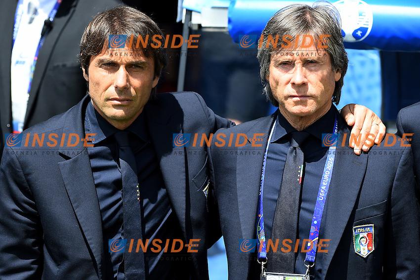 Antonio Conte, Gabriele Oriali Italy <br /> Toulouse 17-06-2016 Stade de Toulouse <br /> Football Euro2016 Italy - Sweden / Italia - Svezia Group Stage Group E<br /> Foto Massimo Insabato / Insidefoto