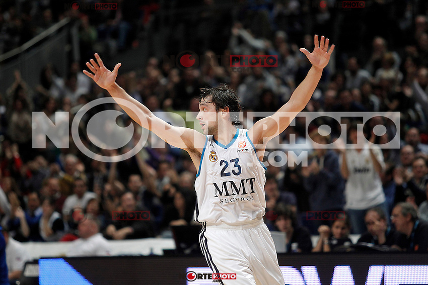 Real Madrid's Sergio Llull celebrates during Euroleague 2012/2013 match.November 23,2012. (ALTERPHOTOS/Acero) /NortePhoto