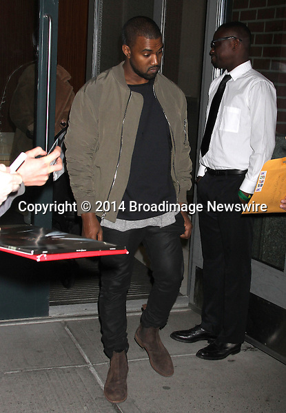 Pictured: Kim Kardashian, Kanye West<br /> Mandatory Credit &copy; DDNY/Broadimage<br /> Kim Kardashian and Kanye West leaving their home in New York<br /> <br /> 2/25/14, New York, New York, United States of America<br /> <br /> Broadimage Newswire<br /> Los Angeles 1+  (310) 301-1027<br /> New York      1+  (646) 827-9134<br /> sales@broadimage.com<br /> http://www.broadimage.com