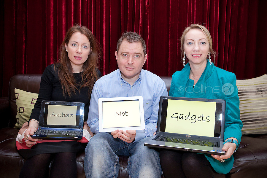 """NO REPRO FEE. Authors not Gadgets. Pictured are Birch Hamilton , Executive Director, Screen Directors Guild of Ireland (SDGI), Juanita Wilson, Oscar nominated Irish filmmaker (The Door, As If I Am Not There) and Darragh O'Connell, Oscar Nominated Brownbag Films based in Dublin (""""Octonauts""""). The Screen Directors Guild of Ireland (SDGI) welcomed a large number of directors and writers from across the globe to a high-profile international conference in The Morrison Hotel, Dublin today. The conference has a particular focus on the issue of authors' rights as many directors and writers are struggling to have their voices heard amidst the technological clatter and noise. Picture James Horan/Collins Photos"""