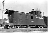 D&amp;RGW long caboose #0505 in Durango.<br /> D&amp;RGW  Durango, CO  Taken by Payne, Andy M. - 4/26/1958