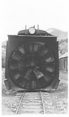 RGS rotary #2 wheel &amp; hood head-on at Placerville.<br /> RGS  Placerville, CO  Taken by Maxwell, John W. - 5/26/1949