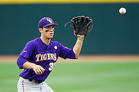 LSU Tigers shortstop Alex Bregman (30) in action against the Texas A&M Aggies in the NCAA Southeastern Conference baseball game on May 10, 2013 at Blue Bell Park in College Station, Texas. LSU defeated Texas A&M 7-4. (Andrew Woolley/Four Seam Images).