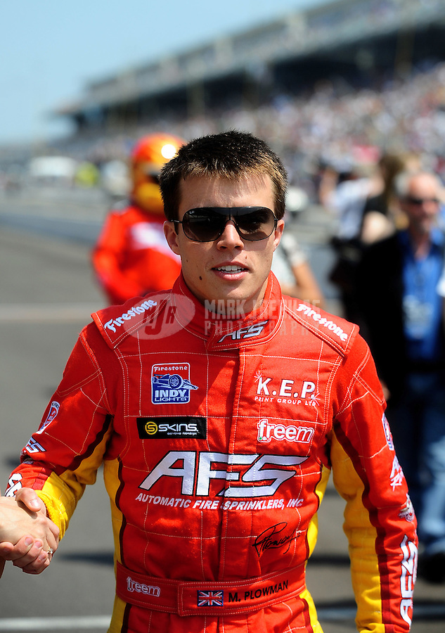 May 28, 2010; Indianapolis, IN, USA; Indy Light Series driver Martin Plowman during the Freedom 100 at the Indianapolis Motor Speedway. Mandatory Credit: Mark J. Rebilas-