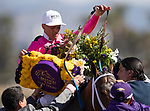 November 2, 2019: Belvoir Bay, ridden by Javier Castellano, wins the Breeders' Cup Turf Sprint on Breeders' Cup World Championship Saturday at Santa Anita Park on November 2, 2019: in Arcadia, California. Carolyn Simancik/Eclipse Sportswire/CSM