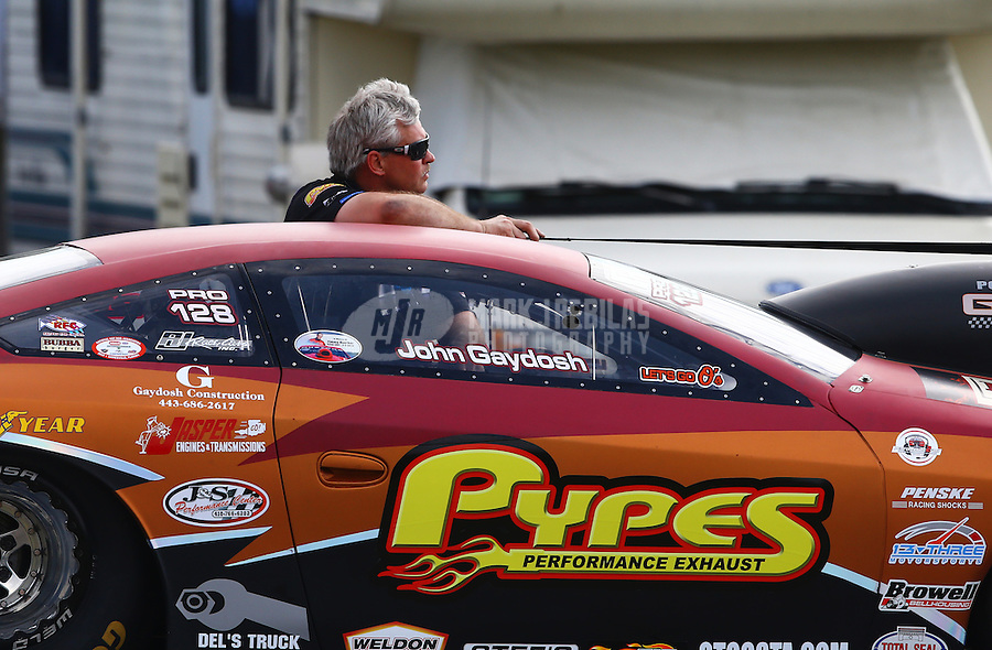 Mar 14, 2015; Gainesville, FL, USA; NHRA pro stock driver John Gaydosh during qualifying for the Gatornationals at Auto Plus Raceway at Gainesville. Mandatory Credit: Mark J. Rebilas-