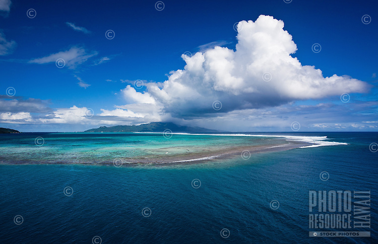 VIew of Raiatea and fringing reefs