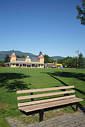 Train depot at Conway Scenic Railroad in North Conway, New Hampshire USA. The railroad is a major tourist attraction.
