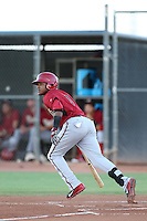 Henry Castillo #8 of the AZL Diamondbacks bats against the AZL Padres at the Peoria Sports Complex on July 7, 2014 in Peoria, Arizona. AZL Padres defeated the AZL Diamondbacks, 9-4. (Larry Goren/Four Seam Images)