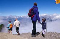 Wanderer auf dem Gipfel des Niesen im Berner Oberland, Schweiz