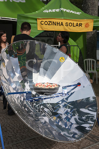 United Nations Conference on Sustainable Development, Rio de Janeiro, Brazil, 2012. Greenpeace tent, cooking with solar.