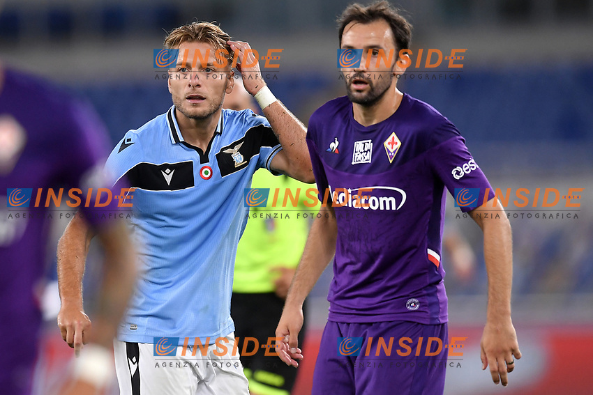 Ciro Immobile of SS Lazio and Milan Badelj of Fiorentina <br /> during the Serie A football match between SS Lazio and ACF Fiorentina at stadio Olimpico in Roma ( Italy ), June 27th, 2020. Play resumes behind closed doors following the outbreak of the coronavirus disease. Photo Antonietta Baldassarre / Insidefoto