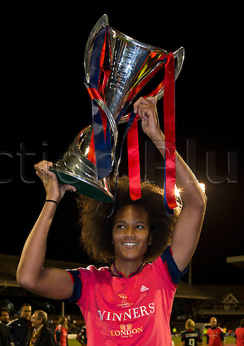 26.05.2011. Craven Cottage  Wendie Renard Lyon posing with the Cup Football UEFA Women Champions League Season 2010 2011 Final Olympique Lyon 1 FFC Turbine Potsdam in London Craven Cottage England