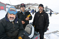 Arnold, Rodger and Joe Hamilton , the volunteer checkers of Shageluk take time out for a photo on Saturday morning    Iditarod 2009