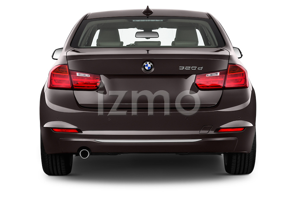 Straight rear view of a 2012 - 2014 BMW 3-Series 320d Modern 4 Door Sedan.