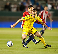CARSON, CA – APRIL 9, 2011: Columbus Crew defender Rich Balchan (2) receives a pass during the match between Chivas USA and Columbus Crew at the Home Depot Center, April 9, 2011 in Carson, California. Final score Chivas USA 0, Columbus Crew 0.