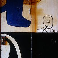 Le Corbusier's signature at the bottom of a mural he painted at his Cabanon at Roquebrune-Cap-Martin