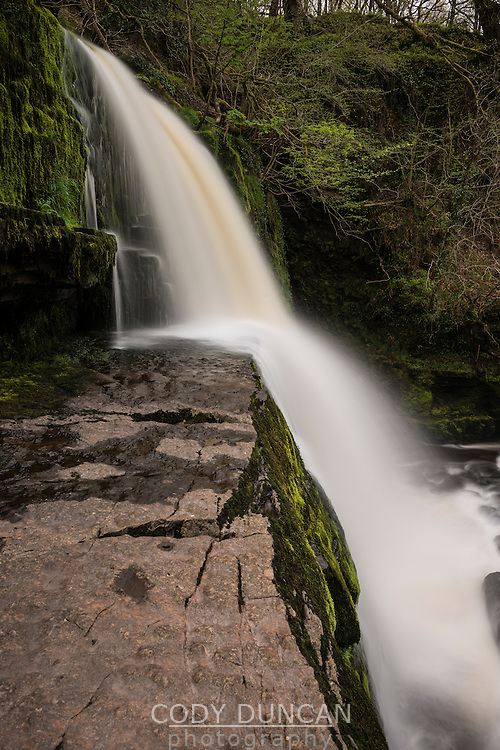 Sgwd Clun-Gwyn Waterfall - Afon Mellte river, near Ystradfellte, Brecon Beacons national park, Wales