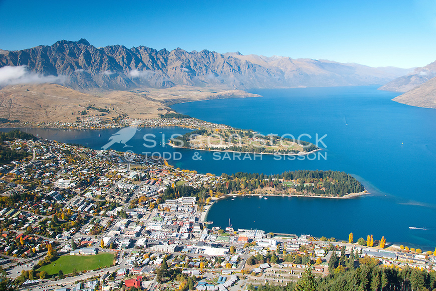 Queenstown, Lake Wakatipu and the Remarkables from the Skyline Gondola, South Island New Zealand