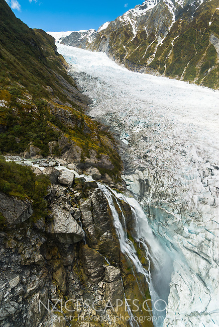 Victoria waterfall on Fox Glacier, Westland tai Poutini National Park, West Coast, UNESCO World Heritage Area, New Zealand, NZ