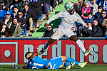 Ferland Mendy of Real Madrid and Fayçal Fajr of Getafe FC during La Liga match between Getafe CF and Real Madrid at Coliseum Alfonso Perez in Getafe, Spain. January 04, 2020. (ALTERPHOTOS/A. Perez Meca)