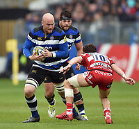 Matt Garvey of Bath Rugby in possession. Aviva Premiership match, between Bath Rugby and Gloucester Rugby on April 30, 2017 at the Recreation Ground in Bath, England. Photo by: Patrick Khachfe / Onside Images