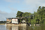 Floating gold dredge working on the Marowijne River, Suriname.