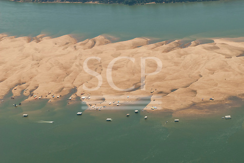 Araguaia river, Para State, Brazil. Aerial view of weekend floating bars on sand bank near Maraba.