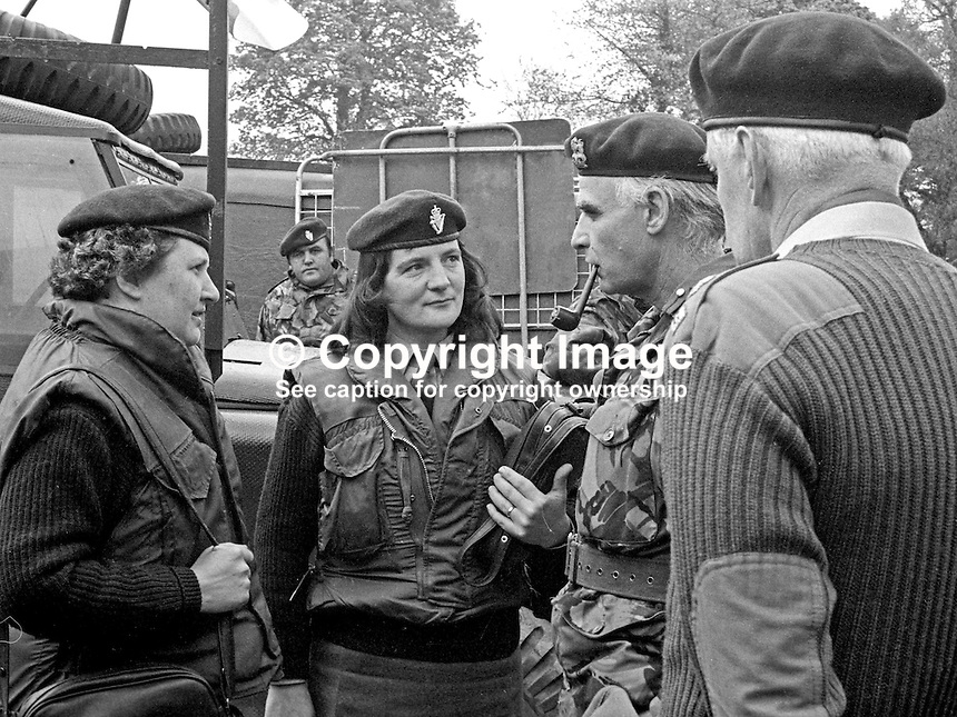 Brigadier Harry Baxter, Commander, UDR, Ulster Defence Regiment, meets two Greenfinches (female members of the regiment}, the morning after one of their colleagues, Eva Martin, died in a Provisional IRA gun &amp; rocket attack on the regiment's base at Clogher, Co Tyrone, the previous night, 2nd May 1974. Eva Martin was the first woman security force member to die in the Troubles. 197405020264B.<br />