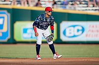 Jacksonville Jumbo Shrimp second baseman Isan Diaz (11) during a game against the Mobile BayBears on April 14, 2018 at Baseball Grounds of Jacksonville in Jacksonville, Florida.  Mobile defeated Jacksonville 13-3.  (Mike Janes/Four Seam Images)