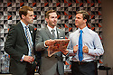 Edinburgh, UK. 29.07.2013. THREE LIONS, by William Gaminara, opens at the Pleasance, as part of the Edinburgh Festival Fringe. Picture shows: Tom Davey (Prince William), Sean Browne (David Beckham), and Dugald Bruce-Lockhart (David Cameron). Photograph © Jane Hobson.