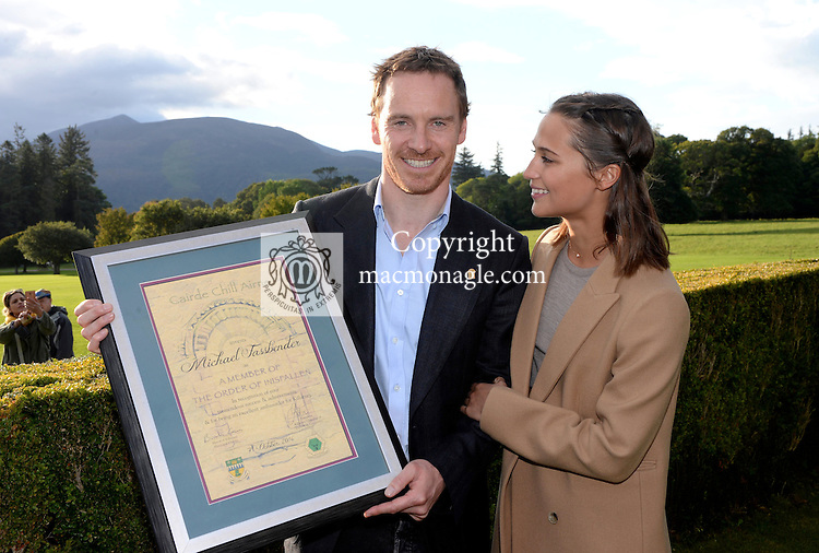 7-10-2016 Hollywood actor Michael Fassbender was honoured by his home town of Killarney on Friday evening when he was bestowed with the &lsquo;Order of Innisfallen&rsquo; award for his contribution to tourism. Our photo shows Michael and his partner Alicia Vicander after receiving his scroll &amp; pin at a civic reception in Muckross House, Killarney on Friday evening.<br /> Photo: Don MacMonagle<br />  <br /> <br /> <br /> www.macmonagle.com