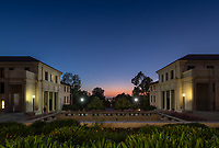Sunset over Occidental College on Tuesday, Oct. 29, 2019. Fowler Hall is to the left, Johnson Hall on the right.<br /> (Photo by Marc Campos, Occidental College Photographer)