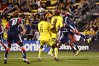 25 OCTOBER 2009:  Edgaras Jankauskas of the New England Revolution (10), Andy Iro of the Columbus Crew (7), Frankie Hejduk and Kenny Mansally of the New England Revolution (29) during the New England Revolution at Columbus Crew MLS game in Columbus, Ohio on October 25, 2009.