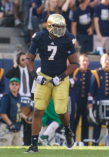 September 08, 2012:  Notre Dame defensive end Stephon Tuitt (7) during NCAA Football game action between the Notre Dame Fighting Irish and the Purdue Boilermakers at Notre Dame Stadium in South Bend, Indiana.  Notre Dame defeated Purdue 20-17.