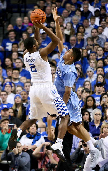 Kentucky guard Aaron Harrison shoots the ball during the second half of the UK men's basketball game vs. Columbia at Rupp Arena in Lexington , Ky., on Wednesday, December 10, 2014. Photo by Jonathan Krueger | Staff