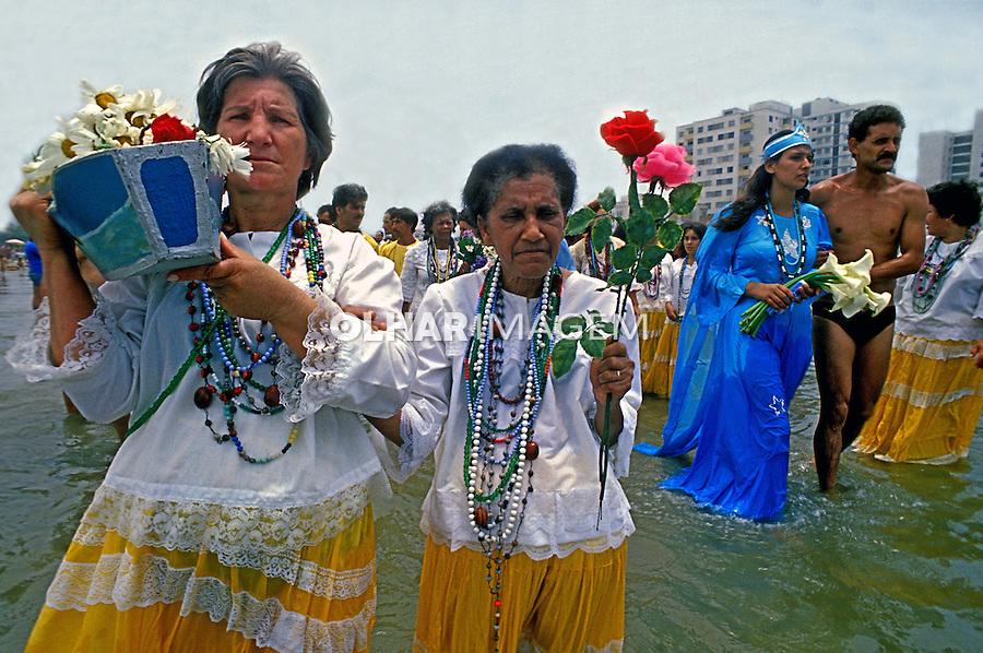 Festa de Iemanja, Praia Grande, Santos.1978. Foto de Juca Martins.