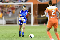 Houston, TX - Wednesday June 28, 2017: Angela Salem brings the ball up the field during a regular season National Women's Soccer League (NWSL) match between the Houston Dash and the Boston Breakers at BBVA Compass Stadium.