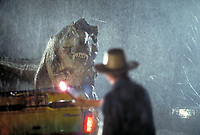 Jurassic Park (1993)<br /> Actor Sam Neill as Dr. Alan Grant takes on a Tyrannosaurus Rex <br /> *Filmstill - Editorial Use Only*<br /> CAP/KFS<br /> Image supplied by Capital Pictures