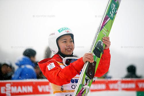 Sara Takanashi (JPN), JANUARY 11, 2014 - Ski Jumping : Sara Takanashi of Japan celebrates her winning of the FIS Ski Jumping World Cup Women's HS100 at Miyanomori, Sapporo, Japan. Takanashi record 14th winning of her career. (Photo by AFLO SPORT)