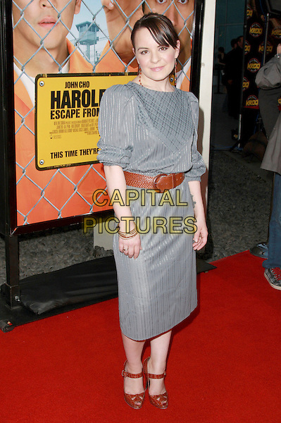 "JENNA VON OY.""Harold and Kumar Escape From Guantanamo Bay"" Los Angeles Premiere held at the ArcLight Cinerama Dome Theatre, Hollywood, California, USA, 17 April 2008..full length grey gray dress brown waist belt.CAP/ADM/`CH.©Charles Harris/Admedia/Capital PIctures"