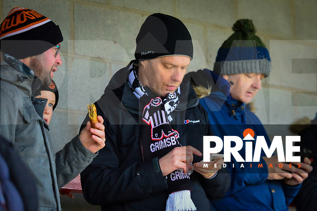 Grimsby fans during the Sky Bet League 2 match between Crawley Town and Grimsby Town at The People's Pension Stadium, Crawley, England on 25 January 2020. Photo by Lee Blease.