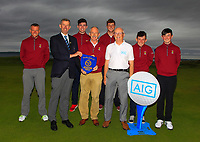 Ballybunion winners of the Munster Final of the AIG Junior Cup at Tralee Golf Club, Tralee, Co Kerry. 13/08/2017<br /> <br /> Back Row:<br /> Brian Slattery, Ronan Cross, Frank Geary Jnr, Philip Byrne and James O'Callaghan.<br /> Front Row:<br /> Jim Long (Chairman Munster Golf GUI), Brandon Daly (Team Captain) and Philip Coburn (AIG).<br /> <br /> Picture: Golffile | Thos Caffrey<br /> <br /> <br /> All photo usage must carry mandatory copyright credit     (&copy; Golffile | Thos Caffrey)