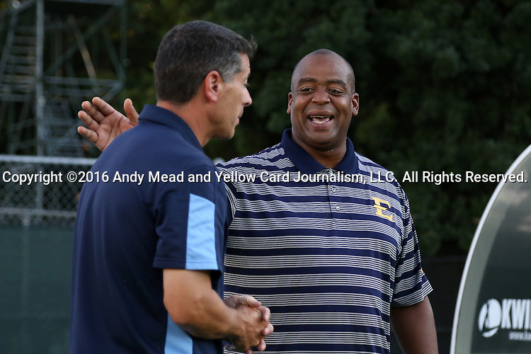 13 September 2016: ETSU head coach Bo Oshoniyi (right) with UNC head coach Carlos Somoano (left). The University of North Carolina Tar Heels hosted the East Tennessee State University Buccaneers at Fetzer Field in Chapel Hill, North Carolina in a 2016 NCAA Division I Men's Soccer match. ETSU won the game 1-0 in sudden death overtime.