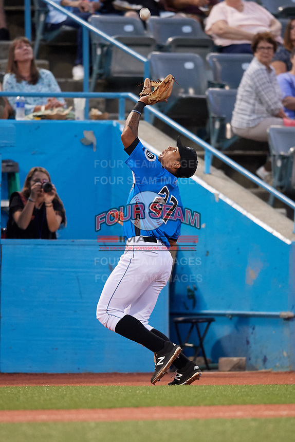 Hudson Valley Renegades third baseman Kaleo Johnson (27) tracks a pop up during a game against the Tri-City ValleyCats on August 24, 2018 at Dutchess Stadium in Wappingers Falls, New York.  Hudson Valley defeated Tri-City 4-0.  (Mike Janes/Four Seam Images)
