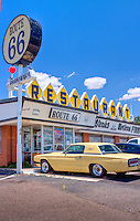 Route 66 Restaurant located in Santa Rosa New Mexico.  Parked in front of the restaurant is a 1966 Ford Thunderbird.