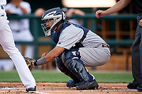 Tampa Tarpons catcher Francisco Diaz (17) waits to receive a pitch during a game against the Lakeland Flying Tigers on April 5, 2018 at Publix Field at Joker Marchant Stadium in Lakeland, Florida.  Tampa defeated Lakeland 4-2.  (Mike Janes/Four Seam Images)