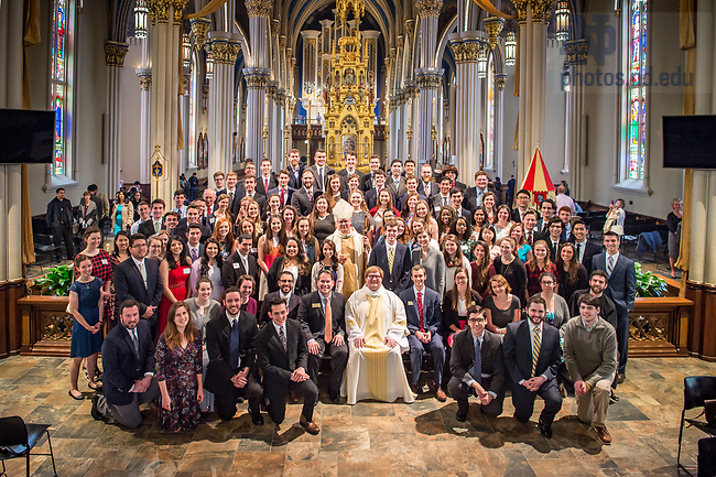 April 30, 2017; Bishop Kevin Rhoades, the newly confirmed and their sponsors and instructors pose for a group photo following Confirmation Mass at the Basilica of the Sacred Heart. (Photo by Matt Cashore/University of Notre Dame)