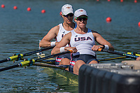 """Lucerne, SWITZERLAND, 13th July 2018, Friday, USA W2X. Bow, """"Meghan O'LEARY and  Ellen TOMEK"""", move away from the pontoon at the start of their heat in the """"Women's double Sculls"""", at the   Area, FISA World Cup series, No.3, Lake Rotsee, Lucerne, © Peter SPURRIER,"""