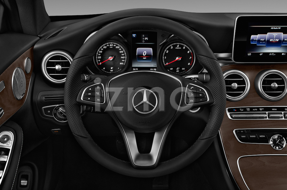 Car pictures of steering wheel view of a 2017 Mercedes Benz C-Class C-300 2 Door Convertible Steering Wheel